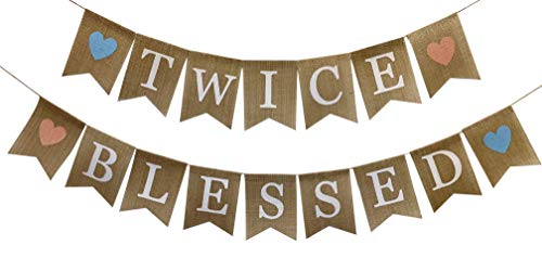 Rustic Burlap Twice Blessed Banner,Twins Baby Shower Gender Reveal Party Supplies and Decorations,Pregnancy Photo Prop,Twin Boys Girls Bunting for Nusery Room Decor]()