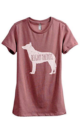 Thread Tank Belgian Malinois Dog Silhouette Women's Fashion Relaxed T-Shirt Tee Heather Rouge X-Large (Malinois Silhouette)