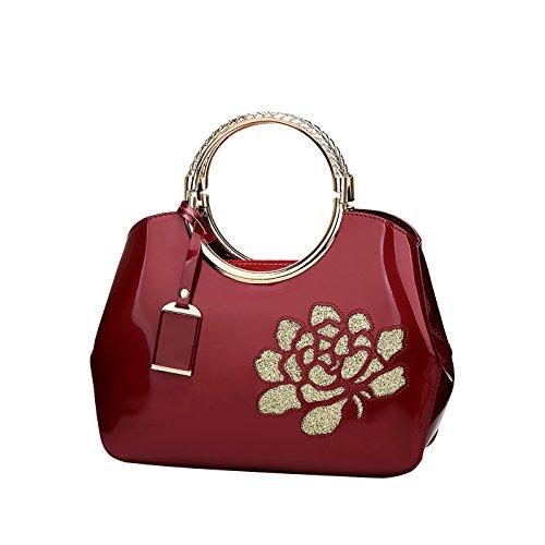 las Bolso de de cuero de charol de señoras bolsa mujeres las bolsa Rojo bolso de cuero moda de la Relieve de Mensajero bolso En Tisdaini Vino la dvqwPaTd