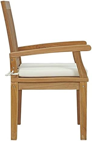Modway EEI-2701-NAT-WHI Marina Premium Grade A Teak Wood Outdoor Patio Dining Armchair, Natural White