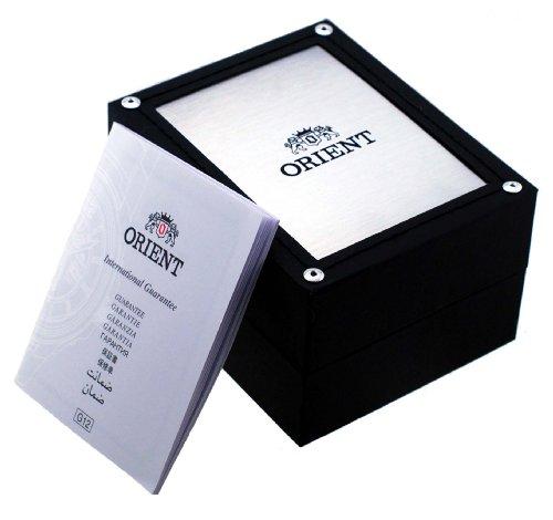 Orient RA-AA0C06E herrarmbandsur, brunt läderband, grön urtavla, dag datum, automatisk klocka