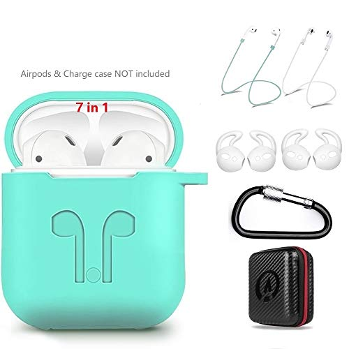 AirPods Case 7 in 1 Airpods Accessories Kits Protective Silicone Cover and Skin for Apple Airpods Charging Case with Airpods Ear Hook Airpods Staps/Airpods Clips/Skin/Tips/Keychain Green by Amasing ()