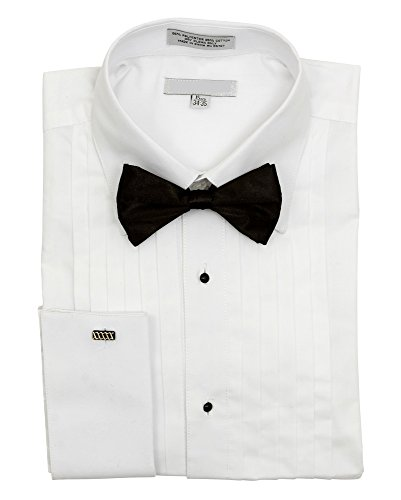 Men's Pointed Collar French Cuff Pleated Tuxedo Shirt Black Bow Tie - 15.5 (Point Collar Tie)