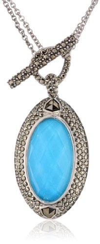 "Judith Jack ""Tropical Breeze"" Sterling Silver Marcasite Turquoise Convertible Pendant Necklace, 36"""