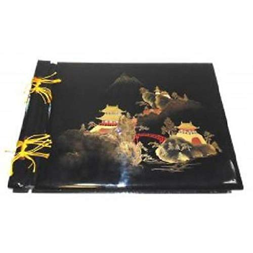 Vintage Hand-Painted Japan Lacquer Photo Album Scrapbook with Pagoda Scene - Empty