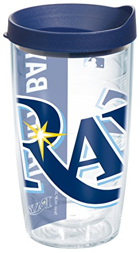 "Tervis 1091432 ""MLB Tb Rays Colossal"" Tumbler with Navy Lid, Wrap, 16 oz, Clear"