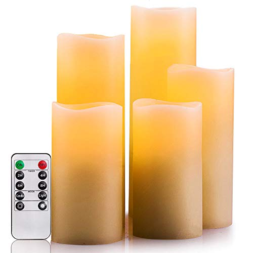 SWEETIME Waterproof LED Flameless Timer Candles, Flickering Pillar Candles with Remote, Outdoor Battery Operated Candles with Amber Yellow Light, Set of 5 (Ivory, D 2.2