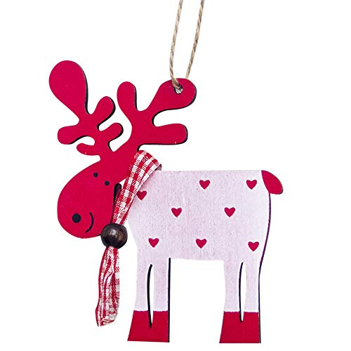 Bowake Reindeer Christmas Ornaments,Colorful Crafts Wooden Xmas Christmas Tree Decorations,Kid Gift Tags,Hanging Ornament,Christmas Decoration Pendants