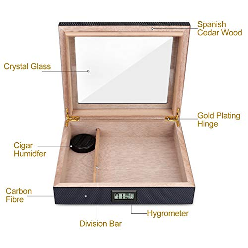 Cigar Humidor Carbon Fiber Cigar Humidor High Gloss Lacquer Handcrafted Cedar Cigar Desktop Box with Front Digital Hygrometer and Humidifier, Glass Top for 20-25 Cigars by Bald Eagle (Image #3)