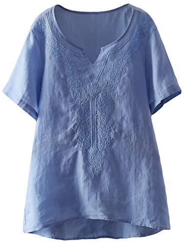 Mordenmiss Women's Embroidered Blouse Tunic V-Neck Linen Tops Short Sleeve Hi-Low Hem Shirt (L,Light Blue)