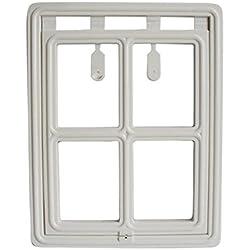 ShineBlue 2-Way Pet Door with Lock for Screen Door Interior Door Gate Way (Large, White)