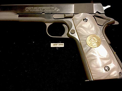 1911 GRIPS FULL SIZE,SALE $37.73.GENUINE ANTIQUE MEXICAN COINS FITTED IN HI-LUSTER DEEP SHINE PEARL. FITS SPRINGFIELD,REMINGTON,PARA,RUGER,COLT,TAURUS,KIMBER,SIG,CLONES. MADE IN U.S.A