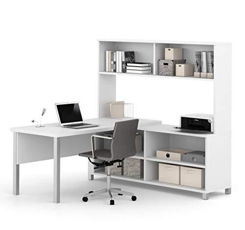 Cheap Bestar Pro-Linea L-Desk with Hutch, White