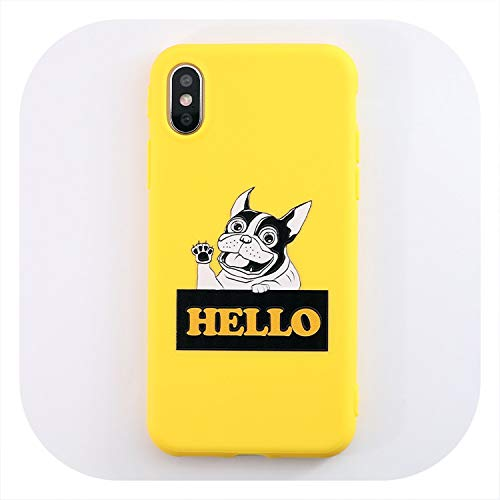Never Say Good Bye Soft Silicone Phone Case for iPhone 7 8 6 6s Plus case for iPhone X Xs max XR Cartoon Lovely Yellow Dog Case Cover,IK69-40YDogHELLO,for iPhone 8