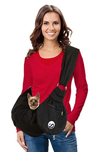 Timetuu Pet Sling Carrier for Small and Medium Dogs or Cats: Reversible Hands-Free Puppy Tote Bag with Adjustable Strap