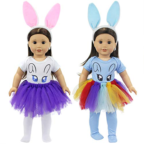 - Ecore Fun 8 Pcs 18 Inch Doll Bunny Clothes Accessories for American 18