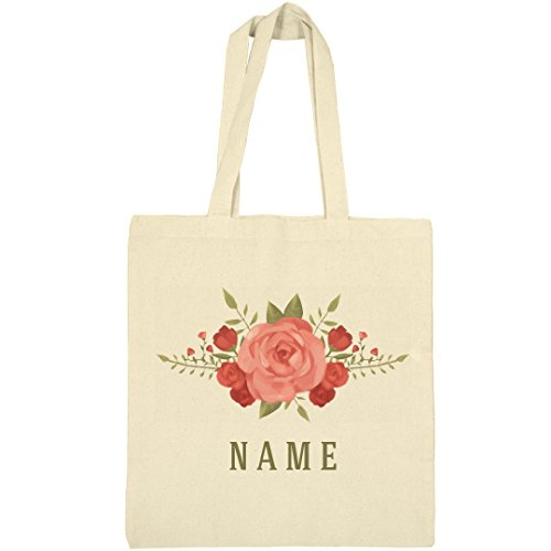 Custom Floral Rose Spring Flowers: Canvas Bargain Tote Bag by Customized Girl