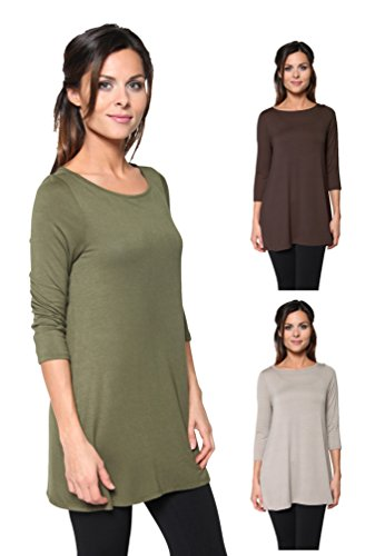 3 Pack: Free to Live Women's Loose Fit Long Elbow Sleeve Jersey Tunics (1X, Brown, Mocha, Olive)