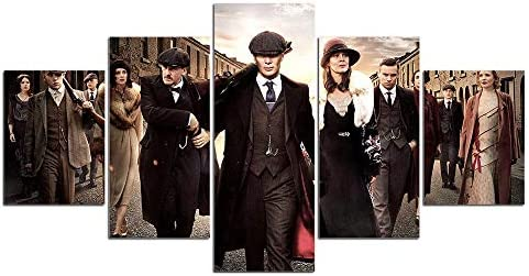 ZXCCX Wulian Canvas Painting Wall Art Peaky Blinders Play TV Canvas Painting 5 Pcs Print Poster Movie Pictures for Living Room Home Bedroom Decoración de la Pared, Framed 40X60 40X80 40X100cm: Amazon.es: