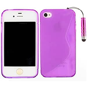 DUR S-Shaped TPU Soft Back Cover and Touch Screen Pen Case for iPhone 4/4S(Assorted Colors) , Purple