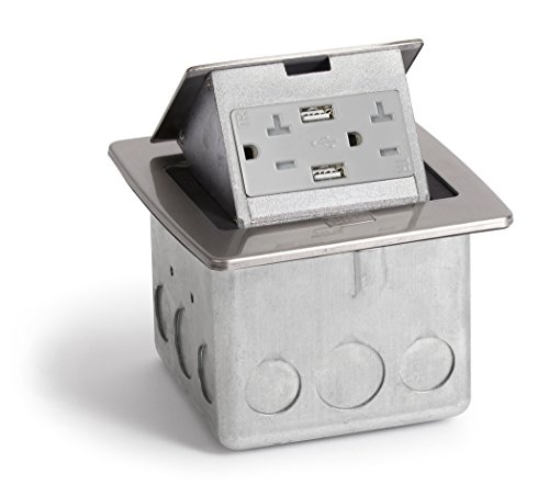Lew Electric PUFP-CT-SS-20A-2USB Countertop Box, Pop Up w/ 20A & Single Power/2 USB Receptacle - Stainless ()