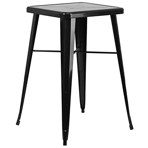 Flash Furniture 23.75'' Square Black Metal Indoor-Outdoor Bar Height Table (Sale Tavern Tables For)