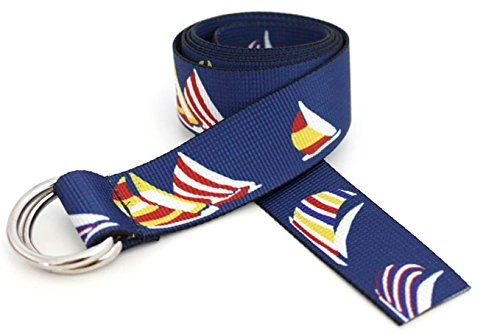D-Ring Sailing Belt Made in USA by Thomas Bates (Blue Spinnaker)