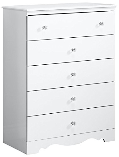 South Shore Furniture 3550035 Crystal 5-Drawer Chest, Pure White