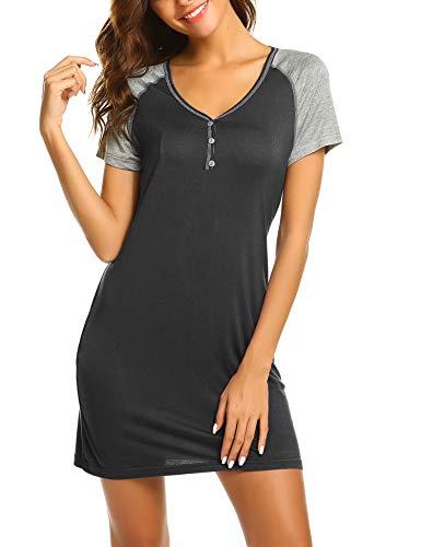 Ekouaer Sleepwear for Women Short Sleeve Loungewear Cute Girl's Nightsuit Sleep Dress(Dark...