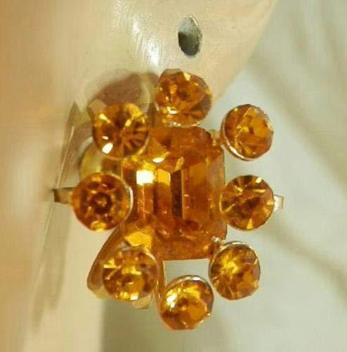 X Sparkly Coro Signed Vintage 40s Art Deco Amber Orange Rhinestone Earrings385F6 PU-4387