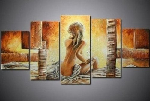 100% Hand Painted Art Nude After Bath Modern Oil Painting on Canvas Wall Art Home Decoration 5 Piece Canvas Art Unframe and Unstretch