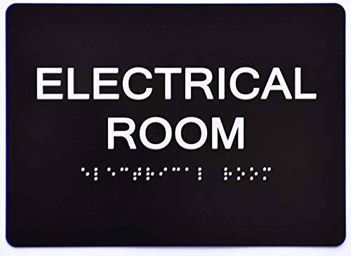 Electrical Room Sign Black (Aluminium, Black/Silver,Size 5x7) The Sensation line