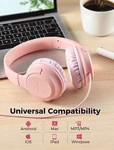 Kids Headphones, Mpow CHE2 Wired Headphones for Kids Teens, Children Headphones with Volume Limit, Foldable Adjustable On Ear Headphones for School, Travel, Compatible with Cellphones, Tablets, PC