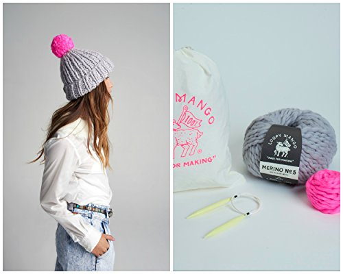 Loopy Mango DIY Kit - Pom Pom Beanie (POLAR BEAR/DORIAN GRAY)