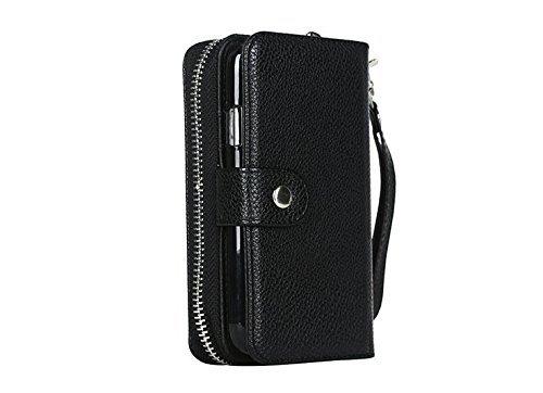 iPhone 5C Zipper Wallet Case,Vandot Multi-purpose Luxury PU Leather Cover Purse Bag Flip Folio Magnetic Business Style pattern with Wrist Strap Card Slots+Bling Metal Stylus Pen-Black