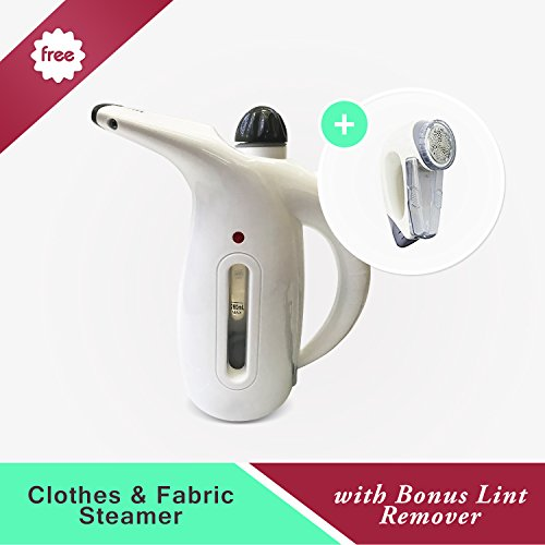 Portable Clothes and Fabric Steamer - Bonus Lint Remover | Steam or Clean any Garment or Clothing - Mens, Womens or Baby | Small, Handheld - Great for Travel | Joy to Use on Large Hanging Curtains by The Clever Life Company