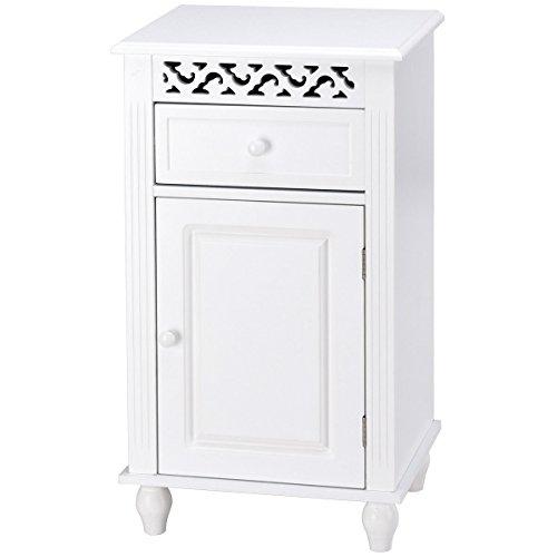 White Floor Cabinet Bathroom Organizer Kitchen Storage w/Drawer & Shelfs