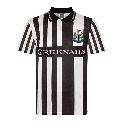 Newcastle United FC Official Soccer Gift Mens 1990 Retro Home Kit Shirt Small