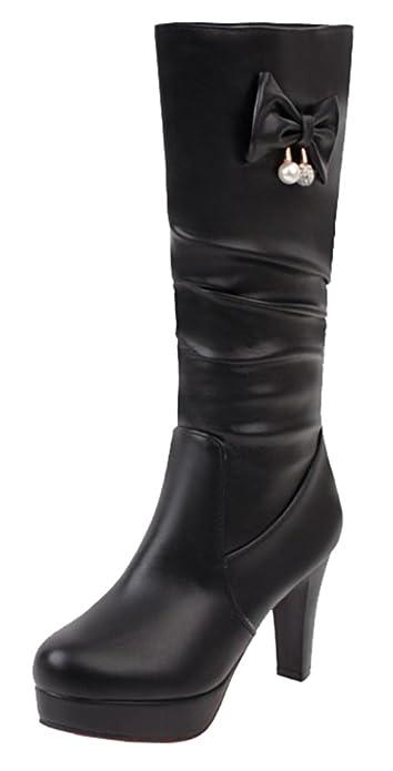 e262090d9152 SHOWHOW Women s Waterproof Bow Pearl Round Toe High Chunky Heels Knee High  Boots Black 4 B