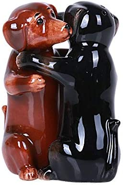 Hugging Daschund Magnetic Ceramic Salt and Pepper Shakers Set