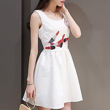 PU&PU Robe Aux femmes Trapèze Simple,Imprimé A Bretelles Au dessus du genou Polyester , white , l