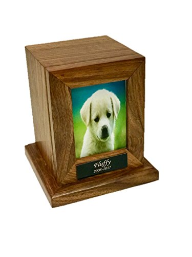 Medium Size Pet Photo Cremation Urn,Wooden Urn with Custom Engraving- Holds 75 pounds