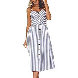 Women's V Neck Sleeveless Long Maxi Boho Floral Print Spaghetti Strap Casual Beach Dress