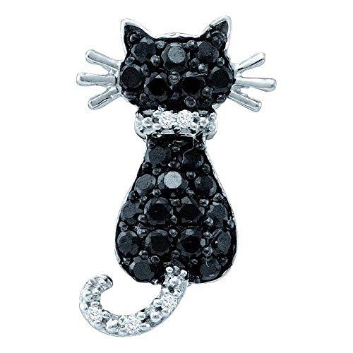 - The Diamond Deal 14kt White Gold Womens Round Black Color Enhanced Diamond Animal Kitty Cat Feline Pendant 1/3 Cttw