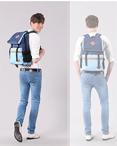 Jane Simple kinouchi Desinger impermeable mochila para adolescente Escuela Bolsas para las niñas en 16colores azul G-bluepinkb1 C-darkblueb1