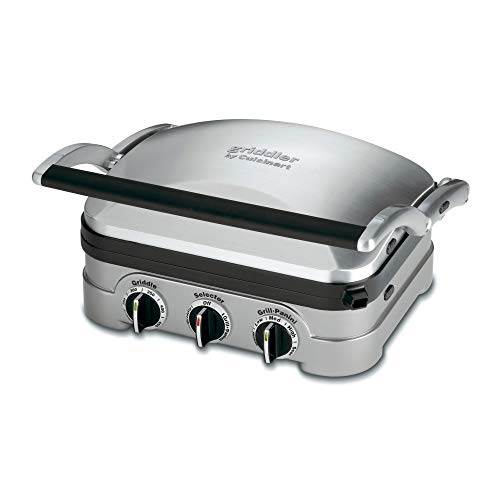 Cuisinart 5-in-1 Grill Griddler Panini Maker Bundle with Waffle Attachment (GR-4N) - Includes Grill and Waffle Plates ()