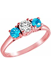 Ryan Jonathan 14K Gold Round 3 Stone Diamond and Blue Topaz Accented Engagement Ring (0.95 cttw)