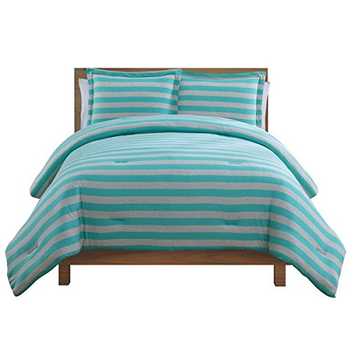 2 Piece Girls Teal Grey Stripes Comforter Twin Set, Horizontal Blue Gray Striped Bedding Rugby Stripe Pattern College Teen Dorm Vibrant Solid Colors Nautical Stylish Chic, Cotton Polyester
