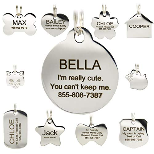 Stainless Steel Pet ID Tags - Engraved Personalized Dog Tags, Cat Tags Front & Back up to 8 Lines of Text - Bone, Round, Heart, Flower, Badge, House, Star, Rectangle, - Engraved Id Tags Cat