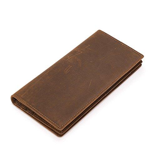 Boleke Men's Vintage Genuine Leather Handy Wallet Long Bifold Card Case Holder Money Clip(Brown) from Boleke